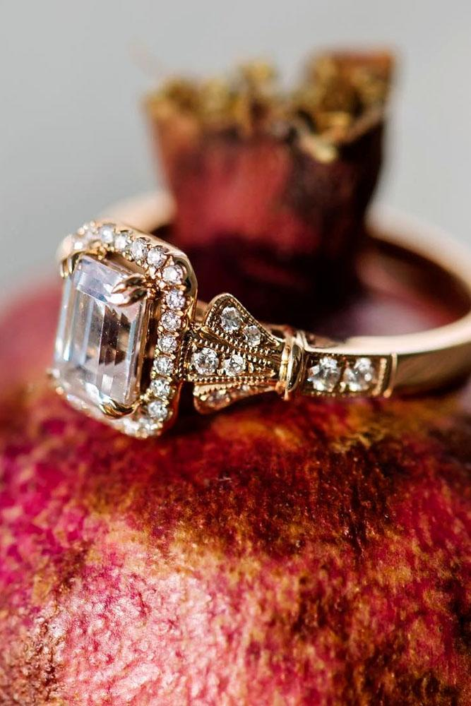 rose gold engagement rings emerald cut diamond halo