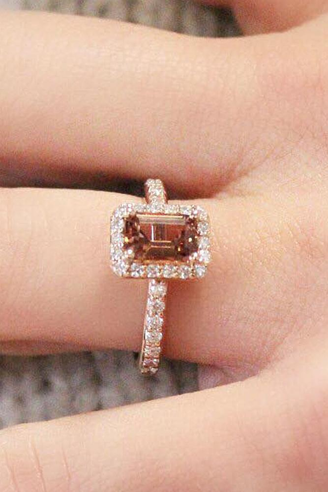 rose gold engagement rings emerald cut moissanite halo pave band