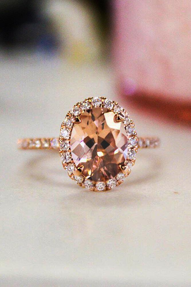 rose gold engagement rings oval cut halo pave band moissanite