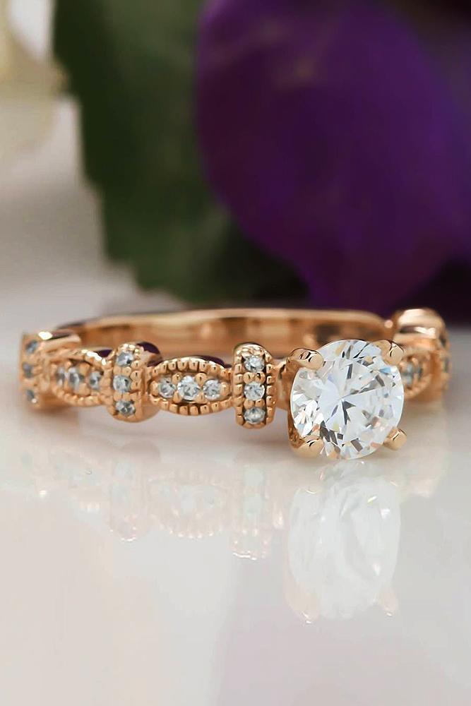 rose gold engagement rings round cut diamond vintage