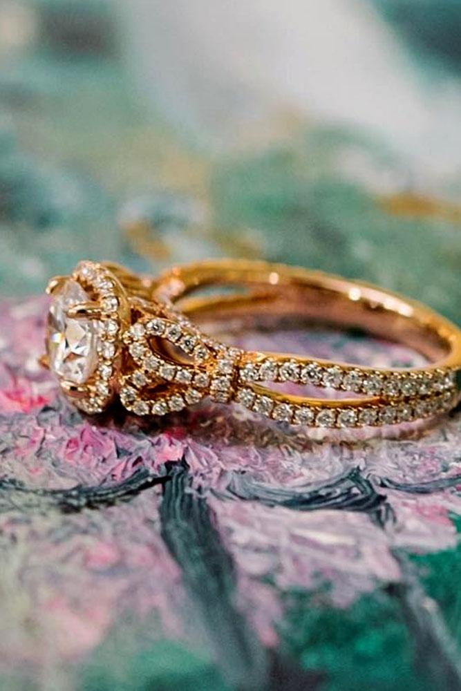 rose gold engagement rings round cut halo pave band