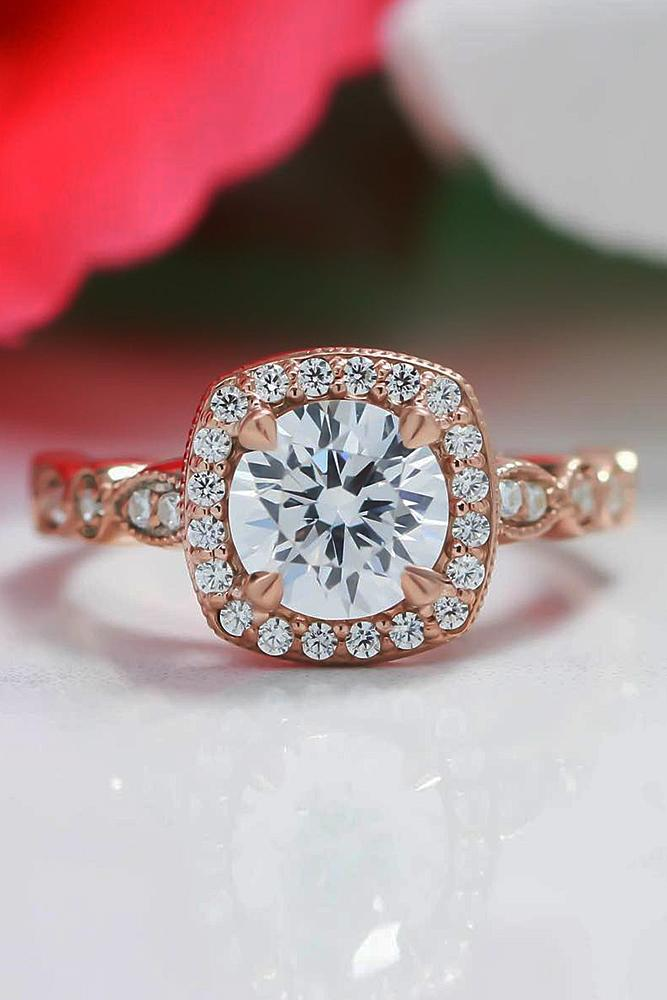 rose gold engagement rings round cut halo pave band diamond