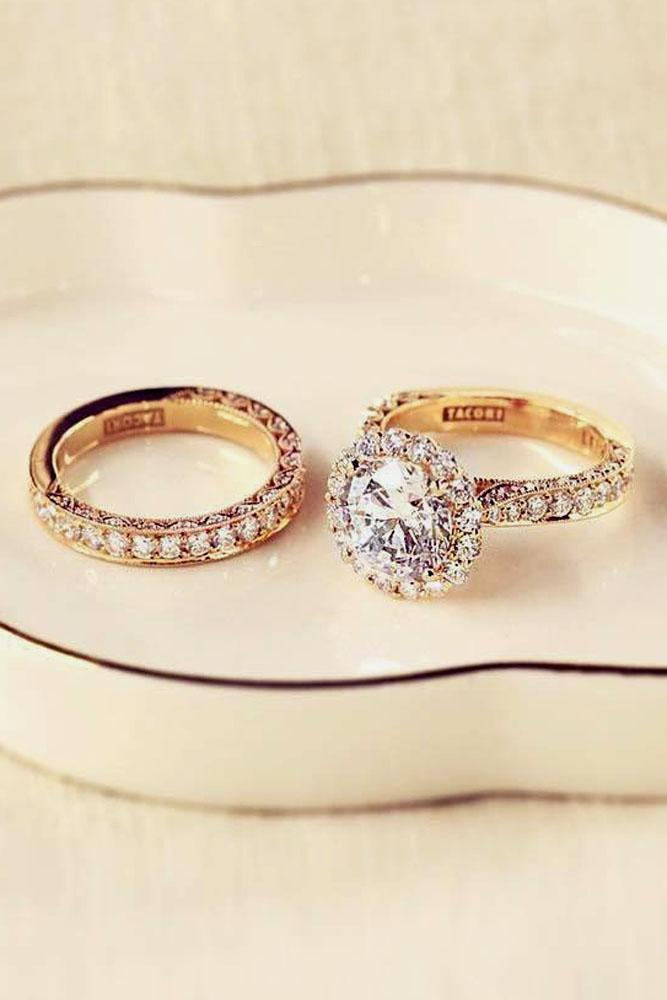 rose gold engagement rings round halo pave band
