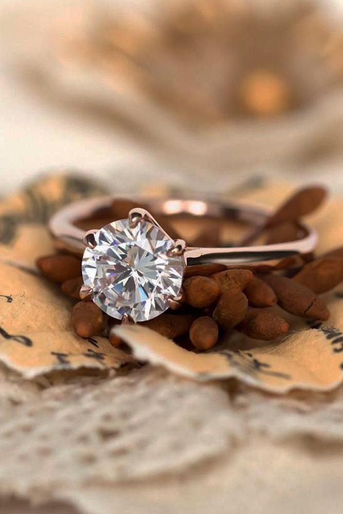 rose gold engagement rings simple round cut diamond
