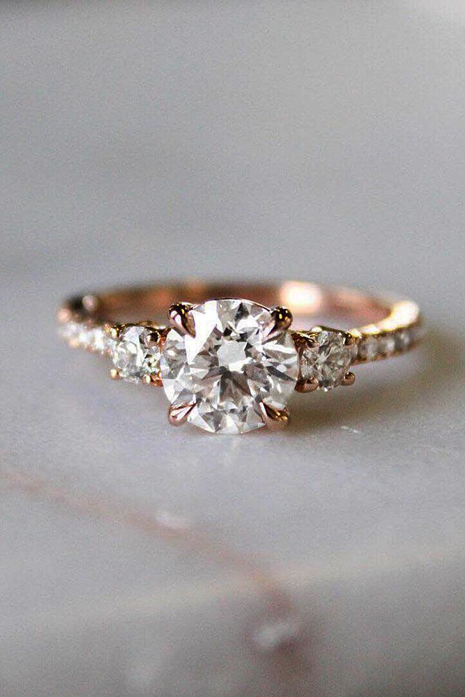 rose gold engagement rings solitaire diamond round cut pave band