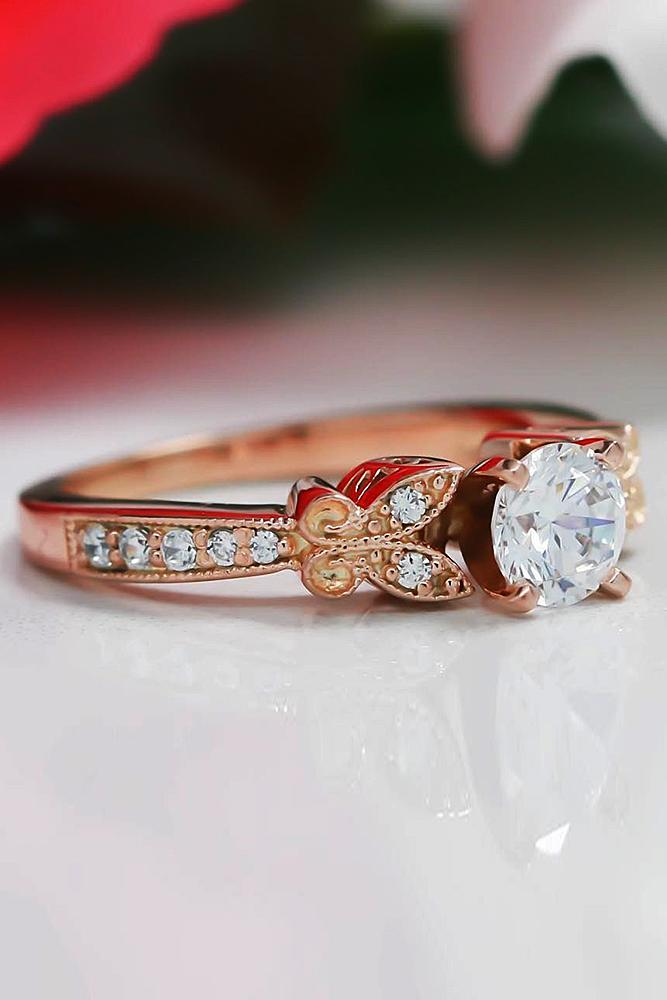 rose gold engagement rings vintage round cut diamond pave band