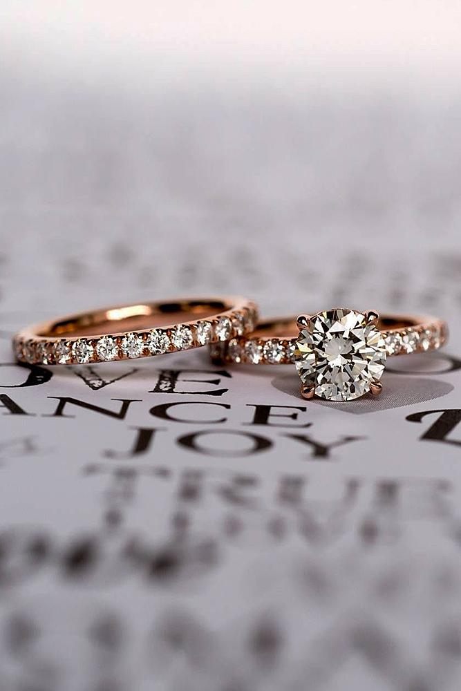 rose gold engagement rings wedding set pave band solitaire round cut