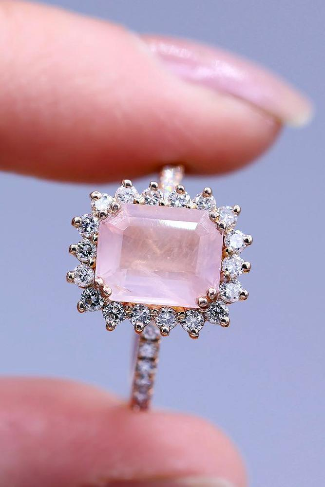 rose gold engagment ring vintage rose stone emerald cut