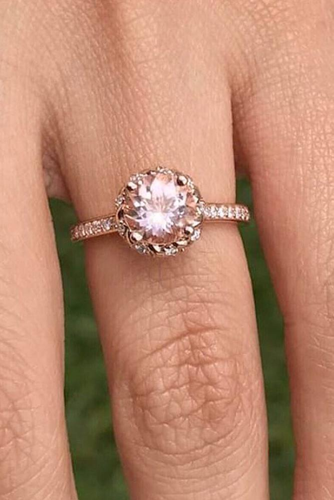 rose gold engagment rings round cut diamond halo pave band