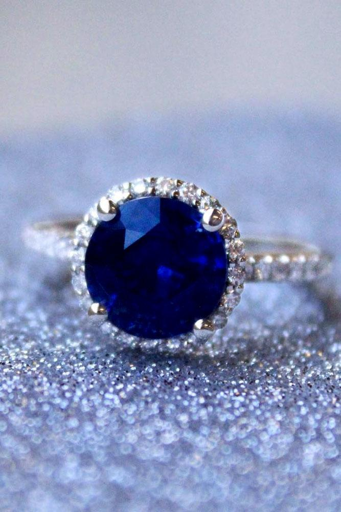 sapphire engagement rings halo diamond pave band white gold