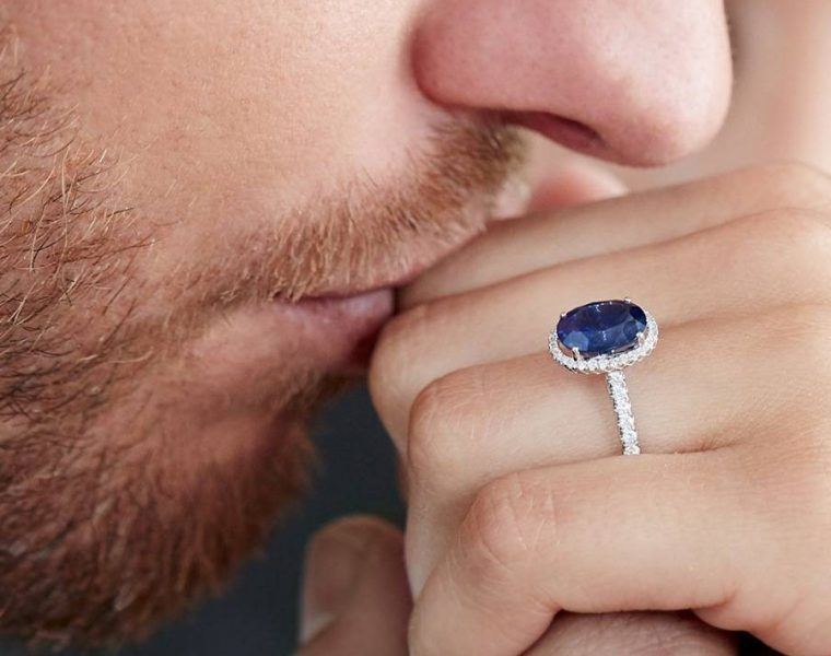 sapphire engagement rings diamond halo