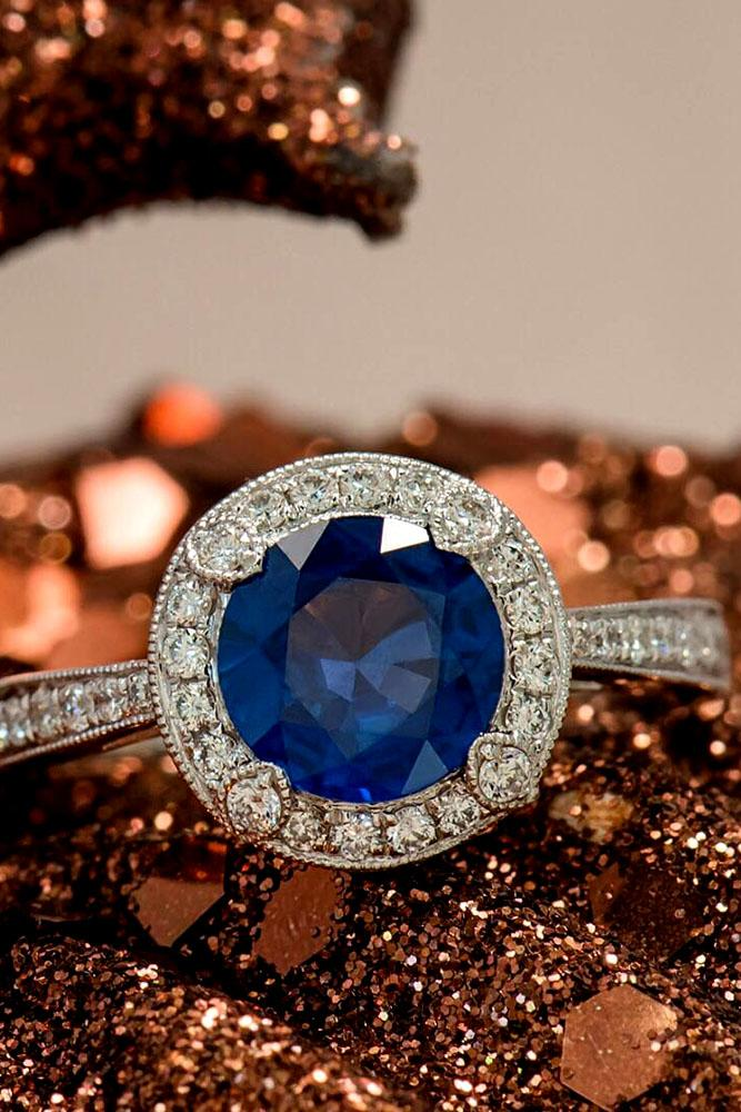 sapphire engagement rings diamond halo white gold pave band