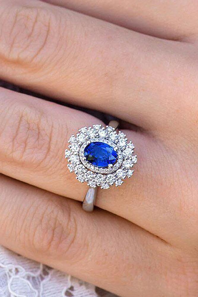 sapphire engagement rings floral halo pave band