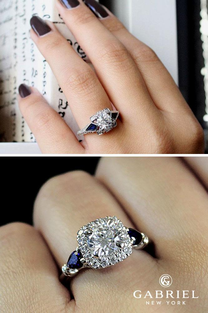 sapphire engagement rings white gold round 3 stones halo