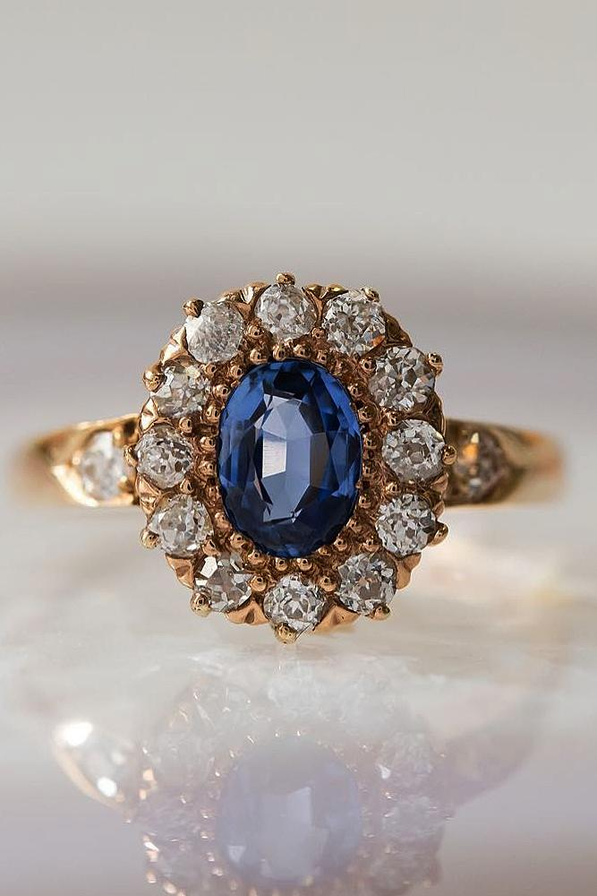 sapphire engagement rings gold vintage floral halo