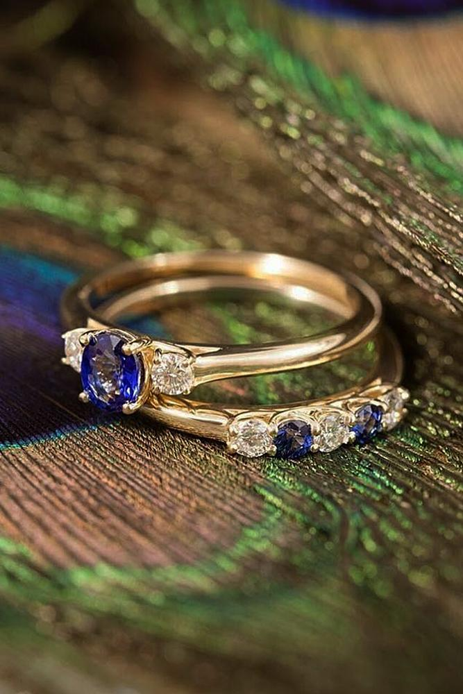 sapphire engagement rings gold wedding set round cut
