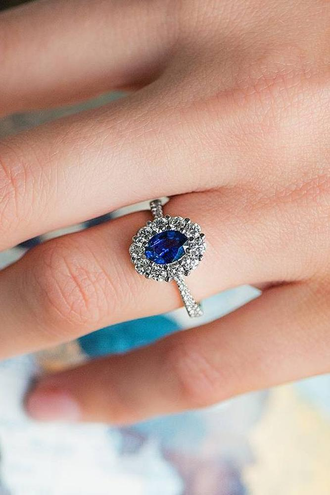 sapphire engagement rings halo diamonds floral pave band