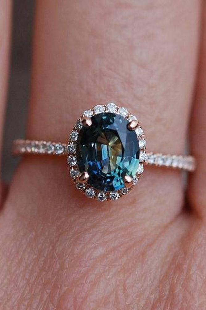 sapphire engagement rings halo oval cut pave band