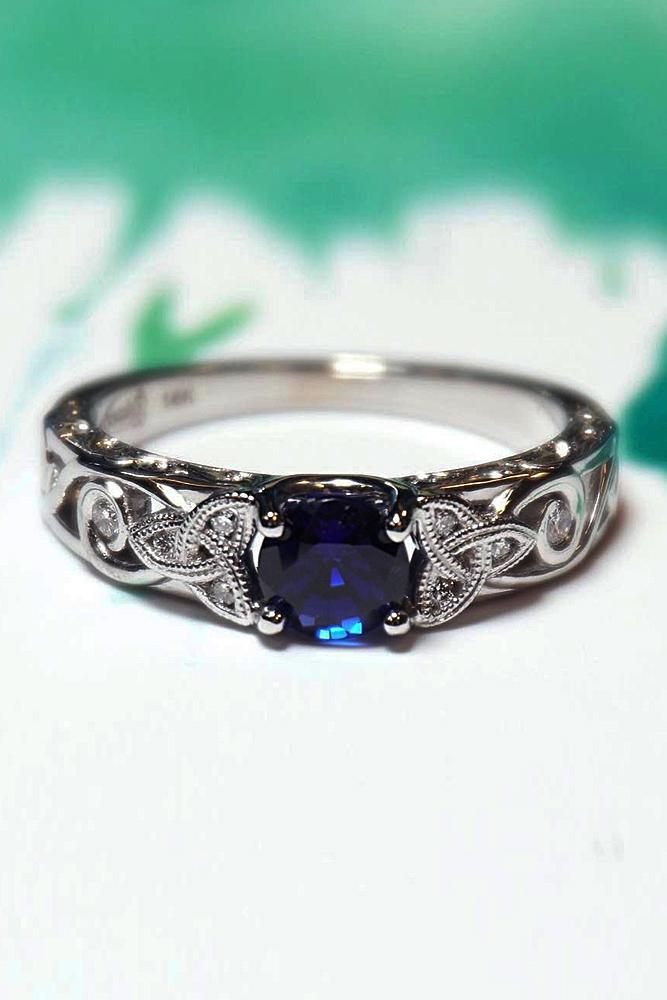 sapphire engagement rings halo vintage white gold