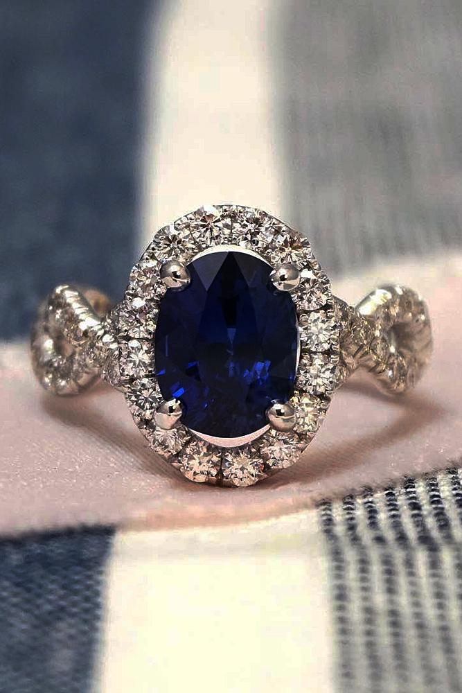 sapphire engagement rings oval cut halo pave band twist
