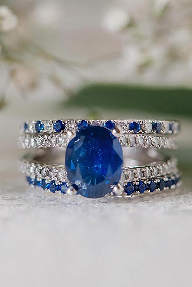 sapphire engagement rings oval cut pave band