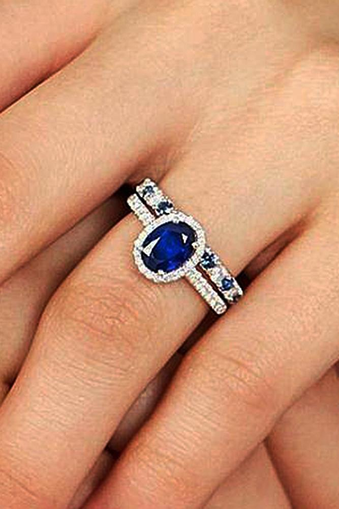 sapphire engagement rings oval cut wedding set pave band