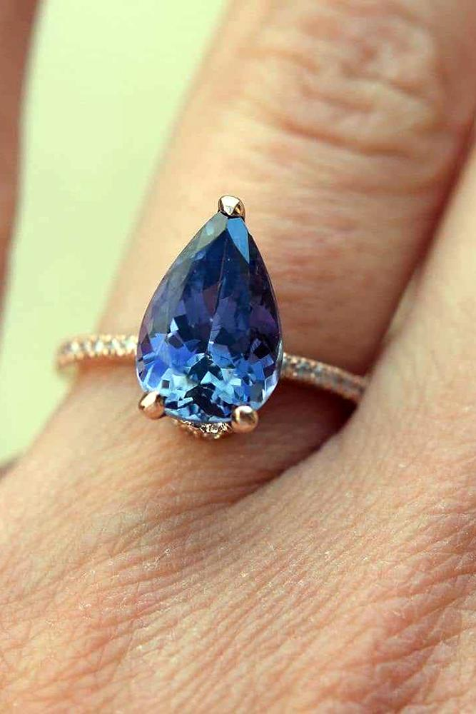 sapphire engagement rings pear cut sapphire pave band diamonds