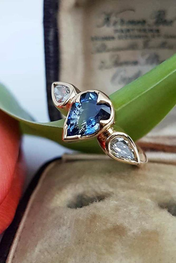 sapphire engagemen rings pear cut sapphirestone diamonds three stones