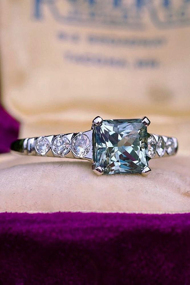 sapphire engagement rings princess cut white gold solitaire