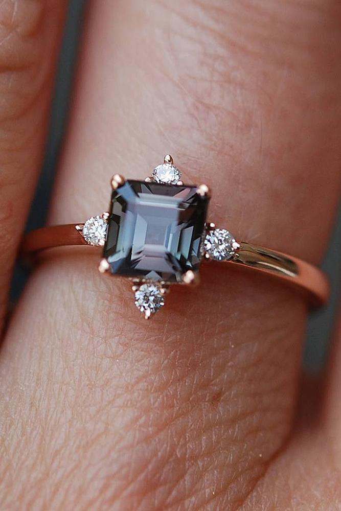 sapphire engagement rings rose gold diamonds cushion cut