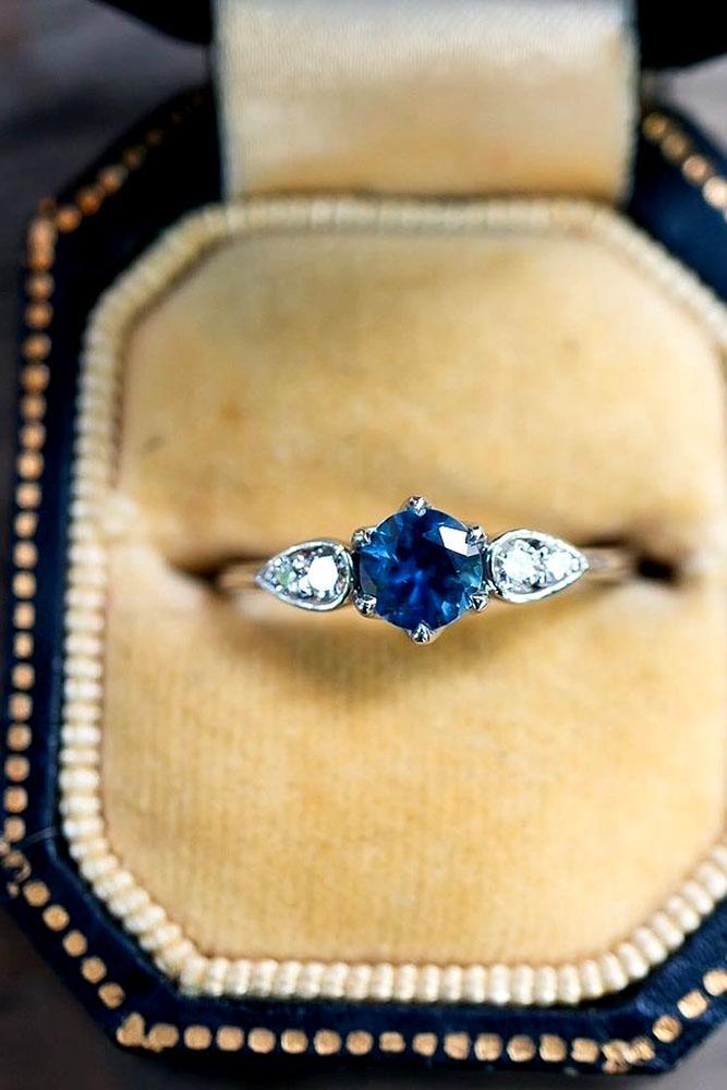 sapphire engagement rings round center gemstone white diamond three stone