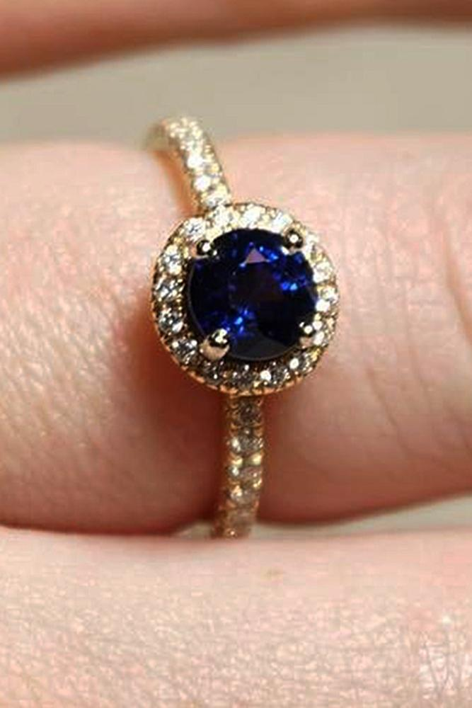 sapphire engagement rings round cut pave band gold