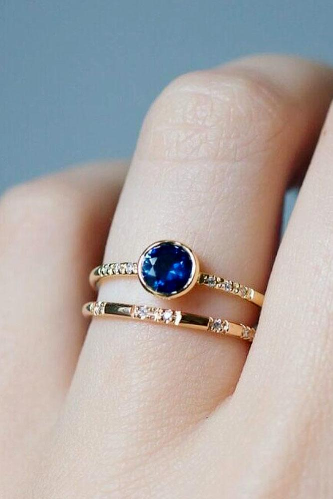 sapphire engagement rings round cut simple ring in rose gold