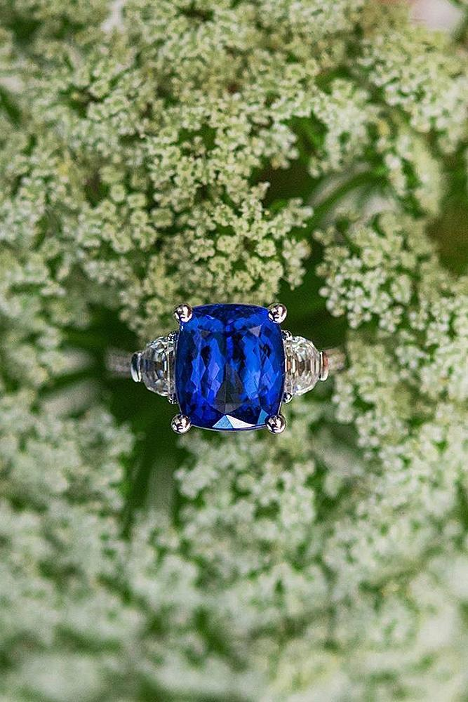 sapphire engagement rings solitaire split white gold