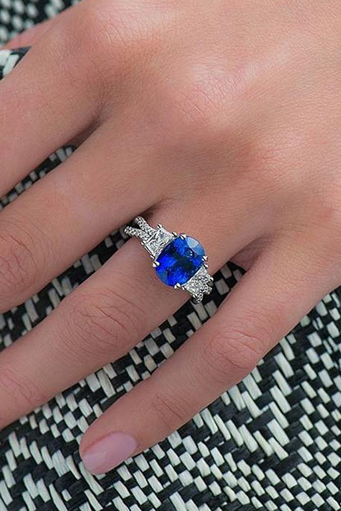 sapphire engagement rings solitaire split white pave band