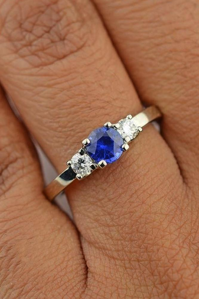 sapphire engagement rings three stones round cut white gold