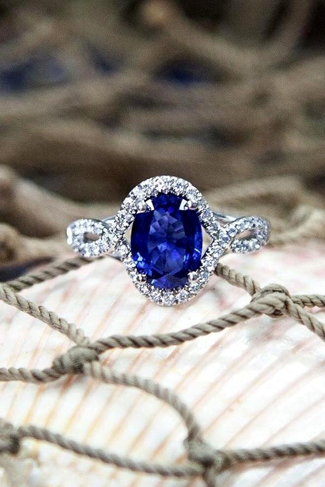 sapphire engagement rings twist white gold diamond halo white gold