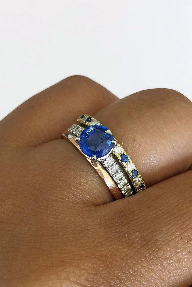 sapphire engagement rings unique band white gold round cut