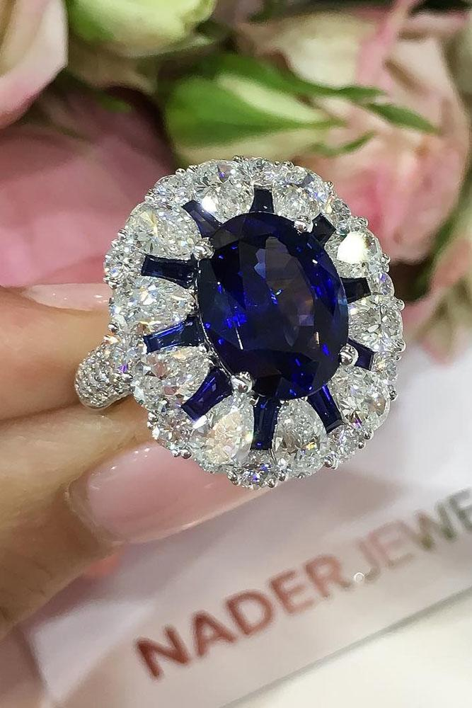 sapphire engagement rings unique diamond halo white gold