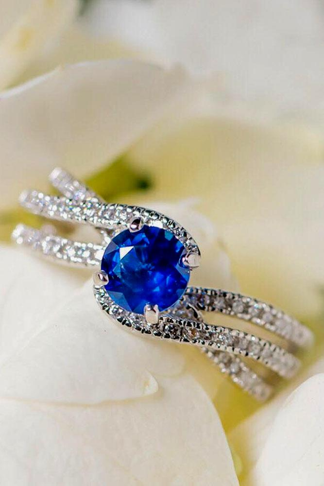 sapphire engagement rings unique round cut center stone pave band white gold