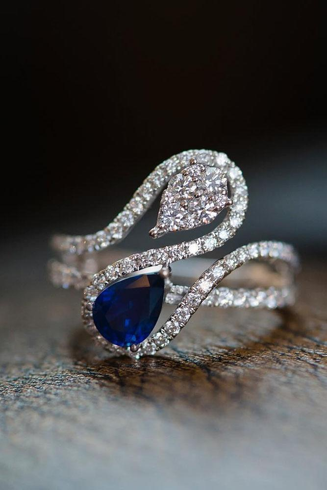 sapphire engagement rings unique white gold pave band diamonds