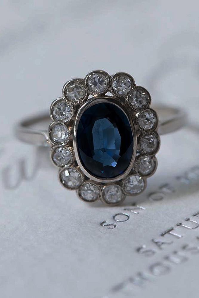 sapphire engagement rings white gold halo floral vintage
