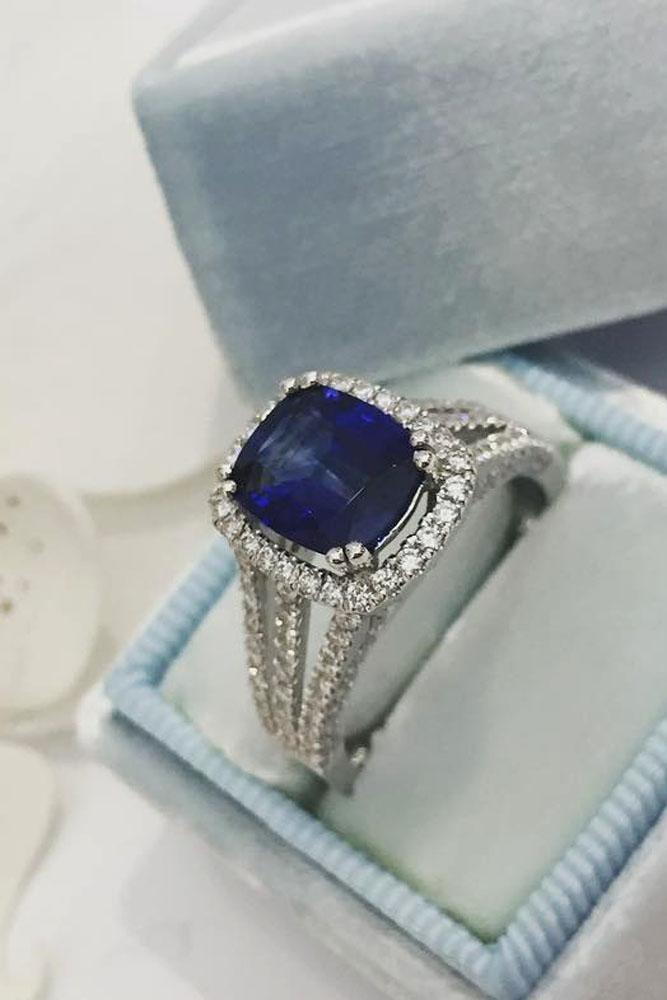 sapphire engagement rings white gold split pave band diamond halo