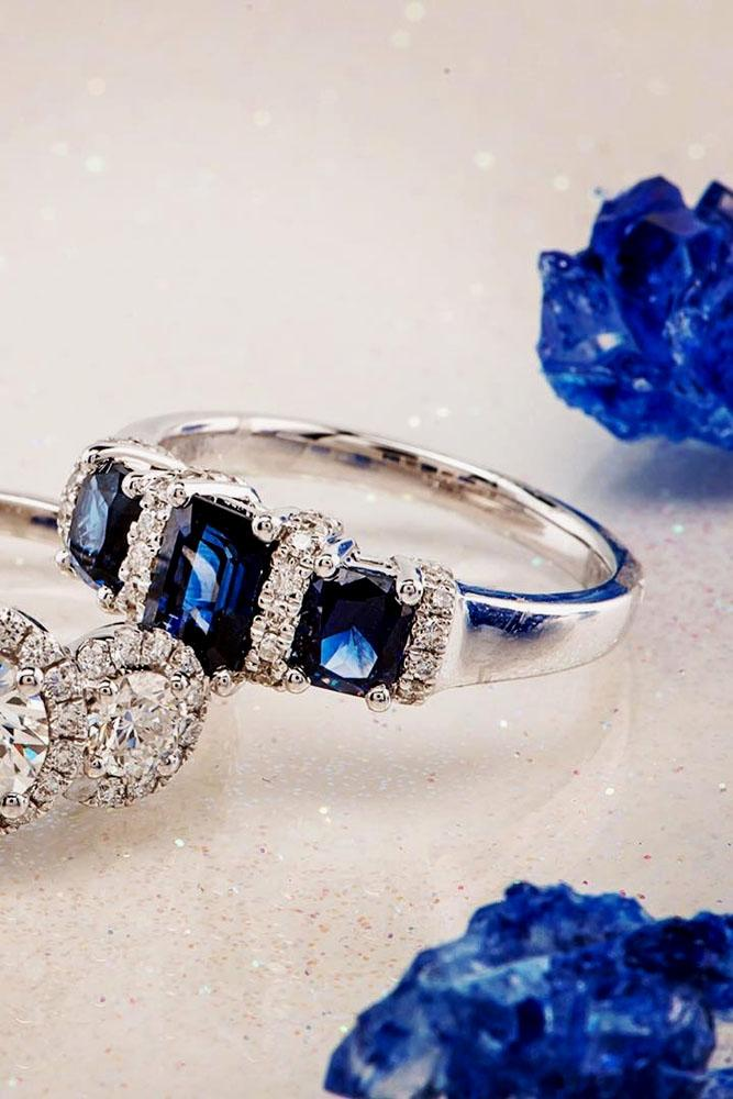 sapphire engagement rings white gold three stone with diamonds