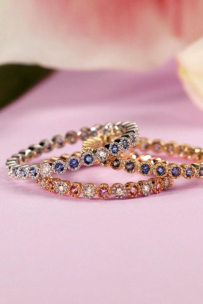 stack-able engagement rings set with gemstone and diamonds in white and rose gold