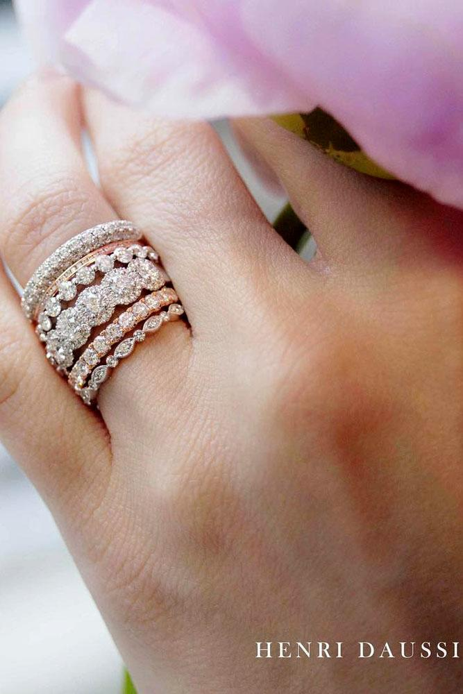 stack-able five engagement ring set diamonds white and rose gold