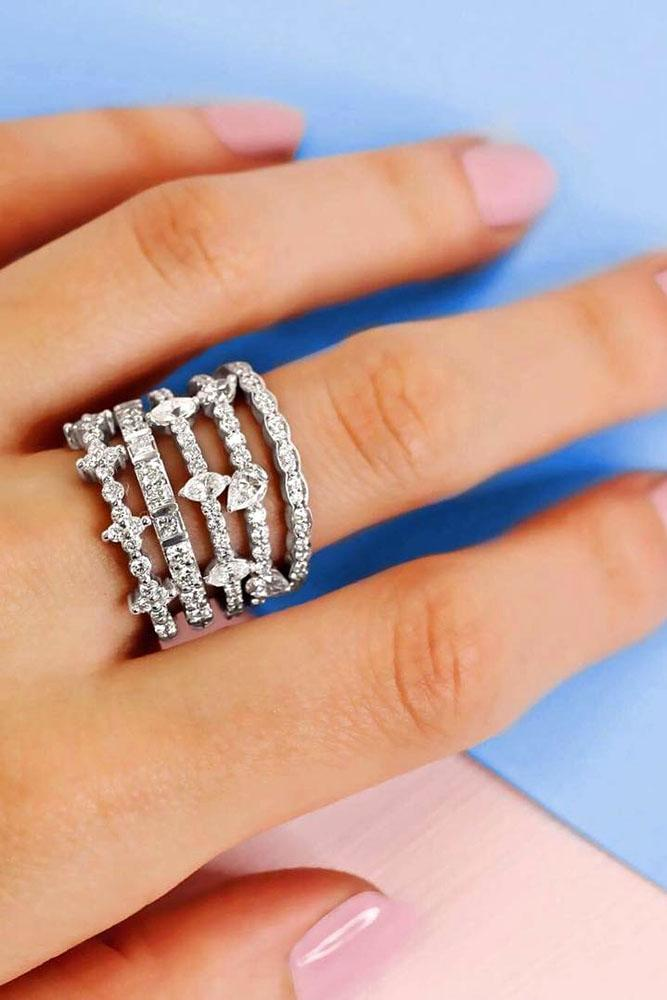 stack-able five rings set in white gold with diamonds