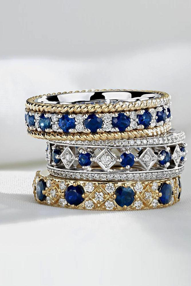 stack-able ring set with diamonds and sapphire in white and rose gold