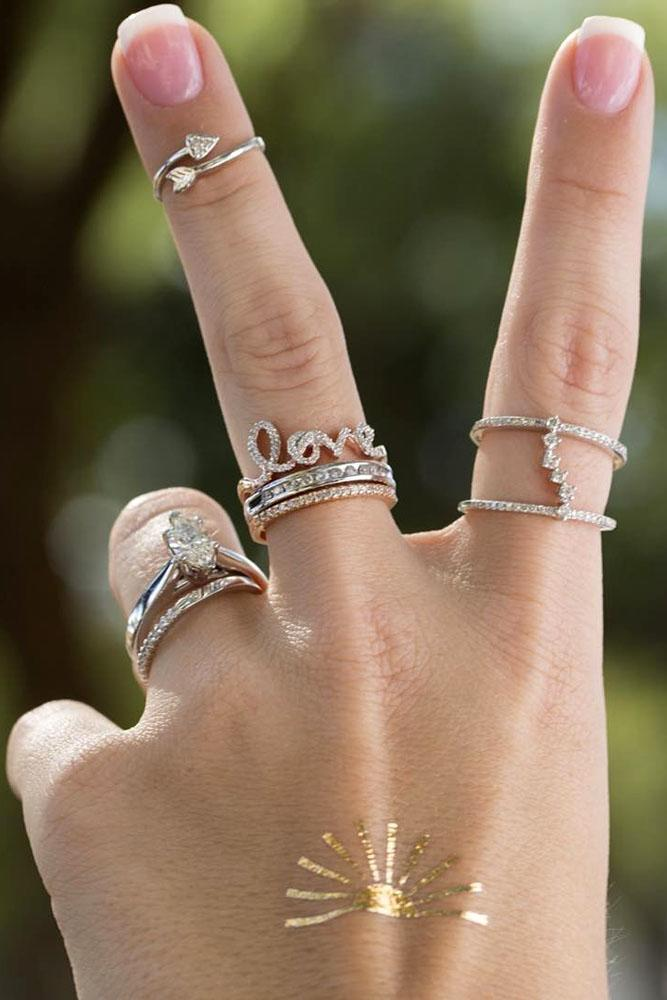 stack-able ring set with love ring in white and rose gold
