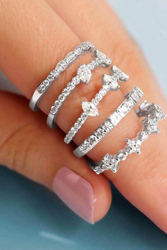 stack-able unique engagement rings set in white gold with diamonds